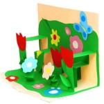 3-д открытка Полянка с цветами к 8 марта своими руками