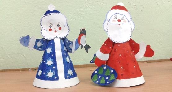 Снегурочка и дед мороз поделка из бумаги
