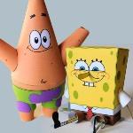 3d фигурки Спанч Боб и Патрик из бумаги (шаблон выкройки)