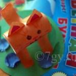 Поделка котик на полянке из цветной бумаги 3d с шаблоном