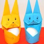 Подставка под яйца заяц оригами на Пасху