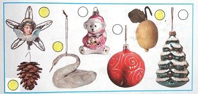 Рассмотри фотографии новогодних игрушек. Отметь (закрась кружок) те, которые тебе кажутся старинными