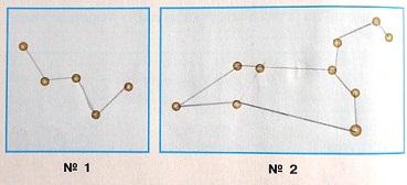 С помощью иллюстраций учебника соедини звезды так, чтобы на рисунке №1 получилась главная фигура созвездия Кассиопея, а на рисунке №2 - фигура Льва.