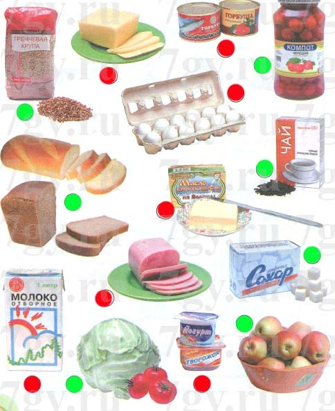 Продукты растительного происхождения отметь (закрась кружок) зелёным карандашом, а продукты животного происхождения - красным