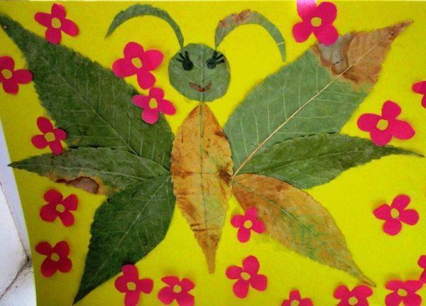 Бабочка из сухих листьев