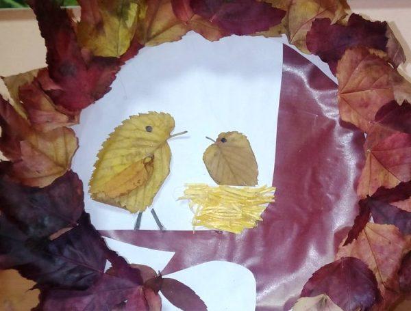 Птицы аппликация из листьев