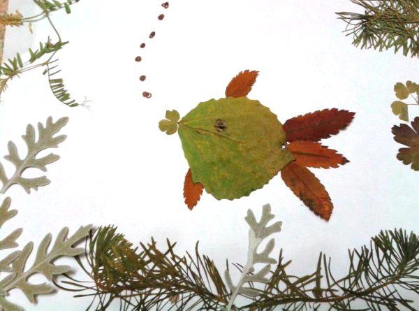 Рыбка аппликация из листьев