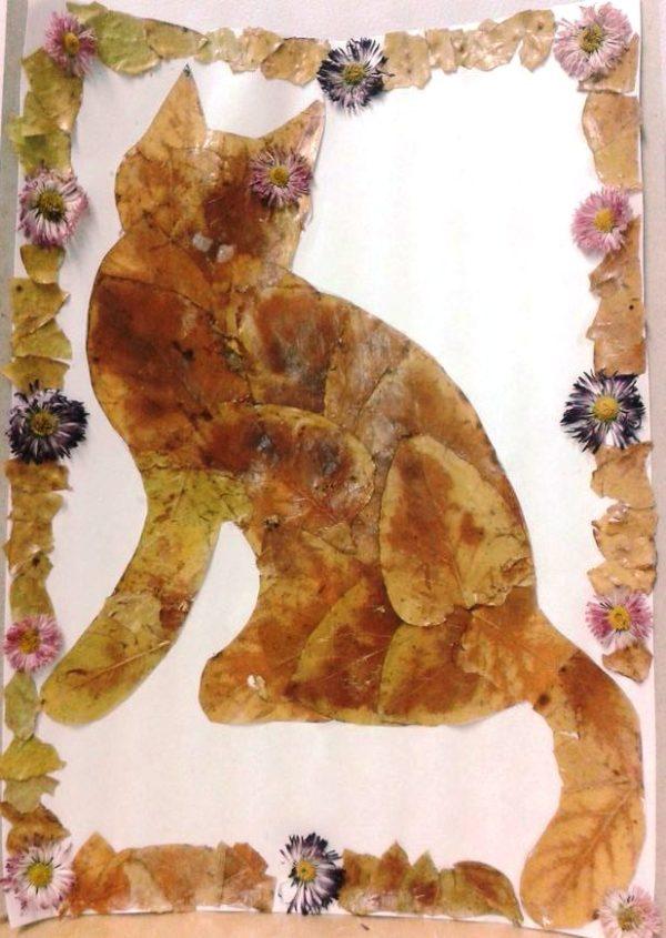 Кошка аппликация из листьев