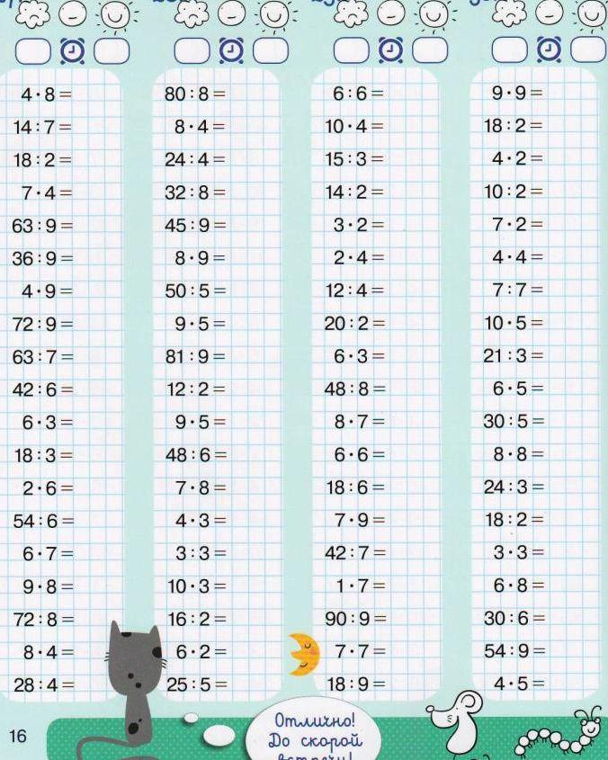 таблицы умножения по тренировки