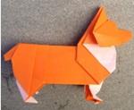 Оригами собака породы вельш-корги