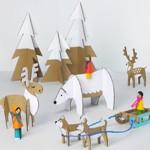 Зимние поделки из картона с шаблонами для печати Северный полюс