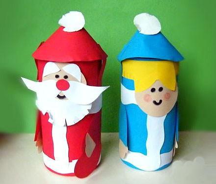 Дед мороз и Снегурочка из втулок от туалетной юумаги