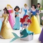 Бумажные 3d куколки Принцессы и колдуньи Диснея (скачать шаблон, распечатать)
