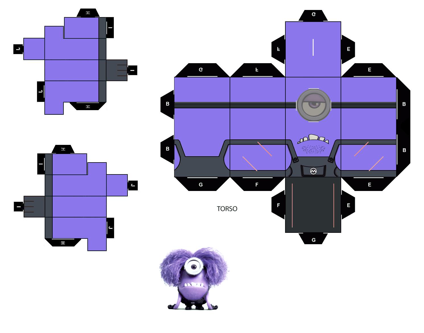 Как сделать миньона фиолетового из бумаги