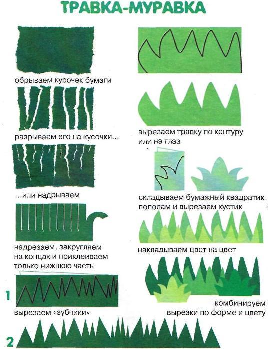Вырезаем листики и стебельки из цветной бумаги