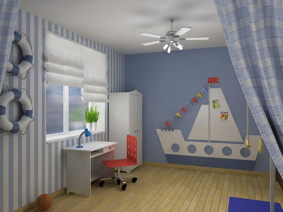 Комната для мальчика в морском стиле дизайн
