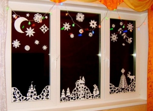 Украшение на окна новогодние сделать своими руками из бумаги