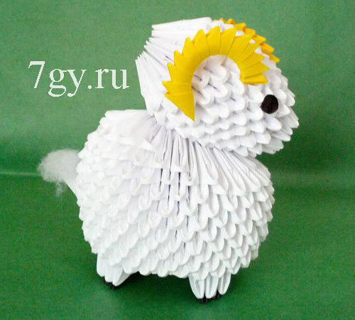 Модульное оригами овечки из