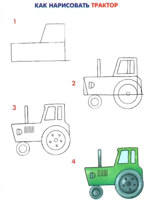 Как рисовать трактор ребёнку