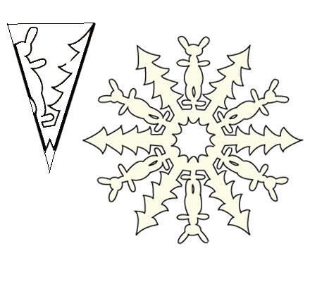 Схема снежинки из бумаги с зайчиком